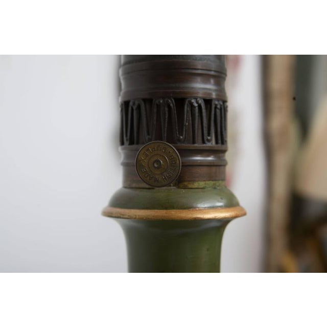 Gold Pair of Victorian Painted Tole Lamps For Sale - Image 8 of 9