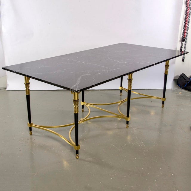 Italian Directoire Style Table With Black Marble Top and Brass Base For Sale In Detroit - Image 6 of 13
