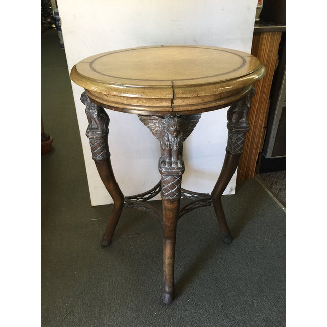 Egyptian Revival Round Table with Leather Top For Sale - Image 11 of 11