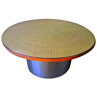 Italian Stamped Brass Cocktail Table Top For Sale