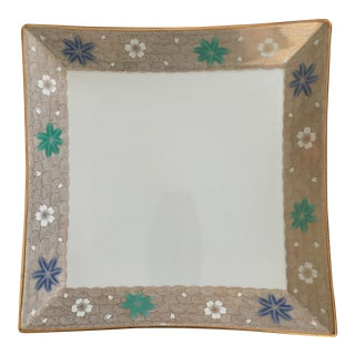Contemporary Porcelain & Gold Floral Chinoiserie Tray For Sale