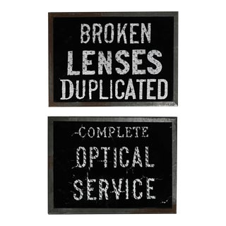 Pair-Early 20th c. Glass Optical Signs, c. 1910
