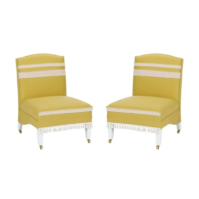 Casa Cosima Sintra Chair in Citron Linen, a Pair For Sale - Image 10 of 10