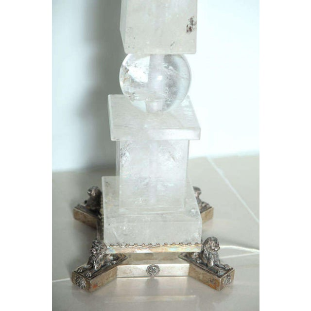 Silver Pair of Rock Crystal and Silver Plated Lamps For Sale - Image 8 of 8