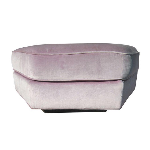 Pink 1 Velvet Hexagonal Flair Collection Lounge Chair and Ottoman by Bernhardt For Sale - Image 8 of 12