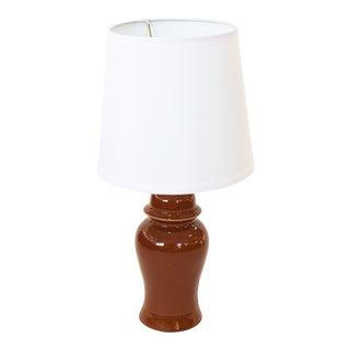 Vintage Mid-Century Ceramic Rust Colored Lamp For Sale