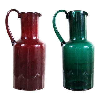 Venini Murano Cocktail Pitchers or Carafes One Green One Red Signed For Sale