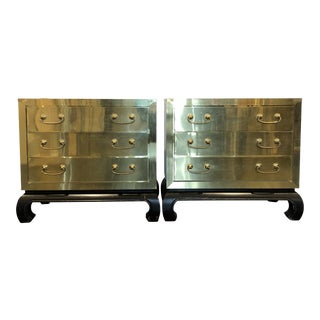 "1970s Mid-Century Modern ""Ellie"" Pair of Brass 3-Drawer Nightstands - a Pair For Sale"