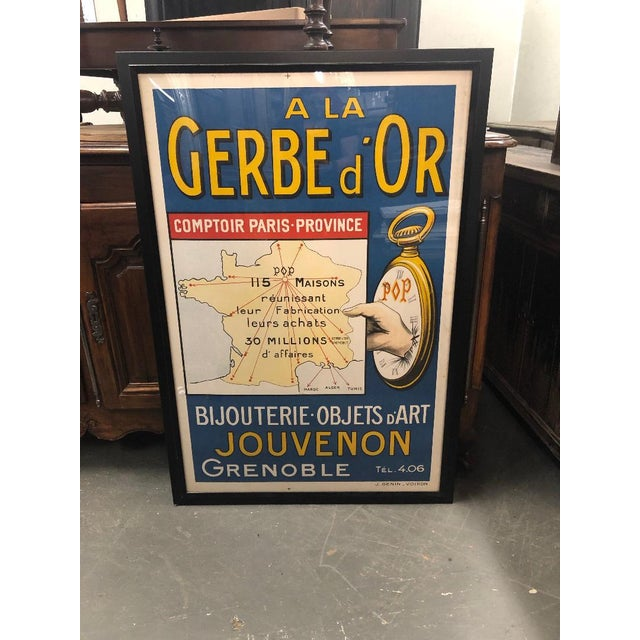 "Framed Vintage French ""A La Gerbe d'Or"" Poster For Sale - Image 4 of 4"