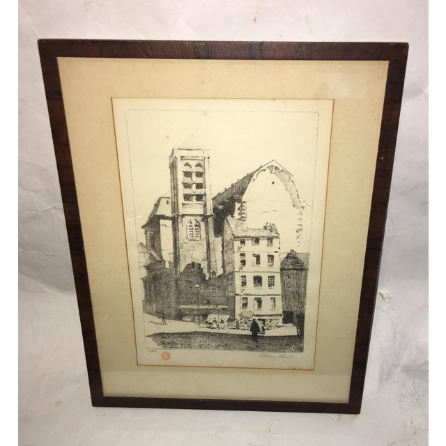 Wood Early 20th Century Antique European Town Scene Lithograph Print For Sale - Image 7 of 7