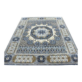 "Mamluk Style Hand Knotted Transitional Navy Blue, Grey, and Yellow Eclectic Geometric Rug - 8' X 10'1"" For Sale"