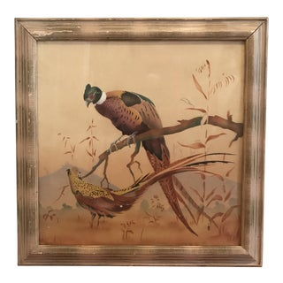 Mid-Century Vintage Lodge Masculine Pheasants Hunting Framed Watercolor Painting For Sale