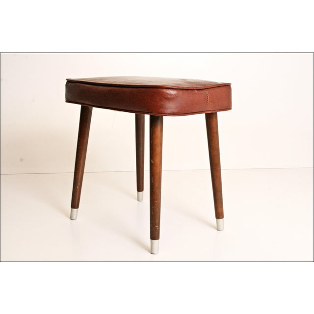 Mid-Century Brown Vinyl Foot Stool - Image 3 of 8
