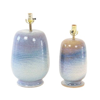 1960s Mid-Century Nautical Ceramic Blue Pottery Lamps - A Pair