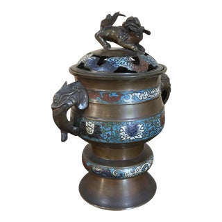 19th Century Asian Cloissonne Incense Burner For Sale