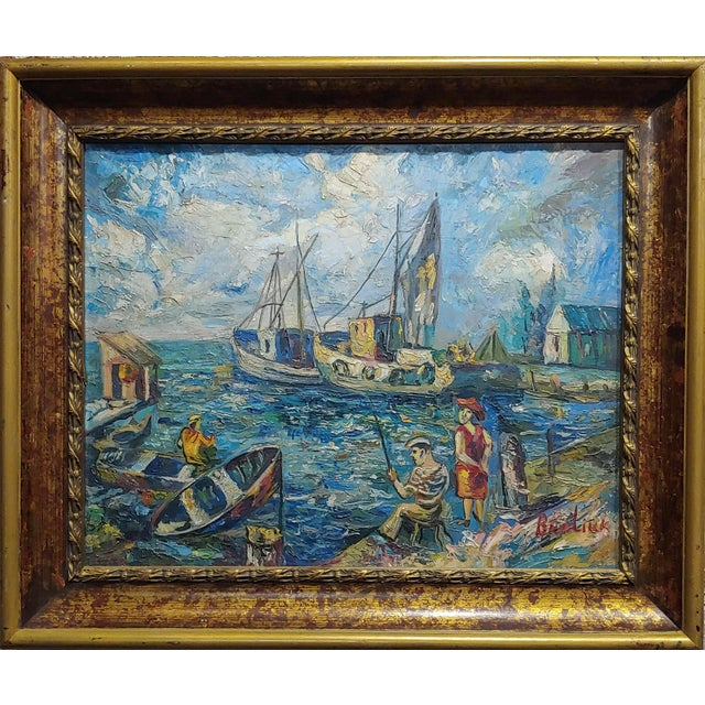 David Davidovich Burliuk (Russian, 1882-1967) Fishing Scene-Oil painting oil painting on canvas -Signed frame size 26 x...
