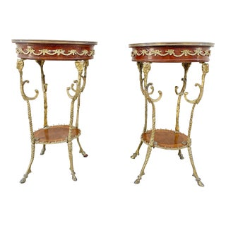 Antique English Brass Rams Head Directoire Gueridon Side Tables - a Pair For Sale