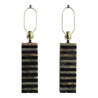 Von Nessen Style Carrara Marble Table Lamps - a Pair For Sale