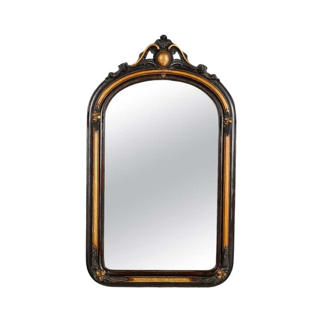 French Ebonized and Gilded Wall Mirror, Circa 1900 For Sale