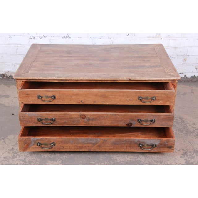 Metal 19th Century Country French Primitive Pine Double-Sided Map File Cabinet or Coffee Table For Sale - Image 7 of 13
