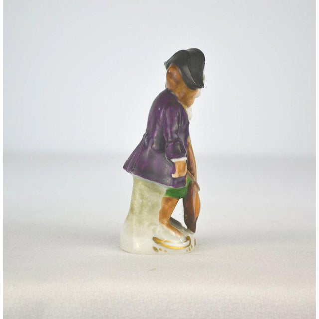 1910s Antique Porcelain Monkey Musician, from Germany, Purple Coat For Sale - Image 5 of 8