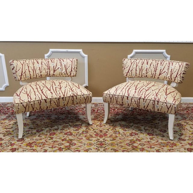 1950s Vintage Mid-Century Modern James Mont Upholstered Slipper Chairs - a Pair - Image 2 of 10