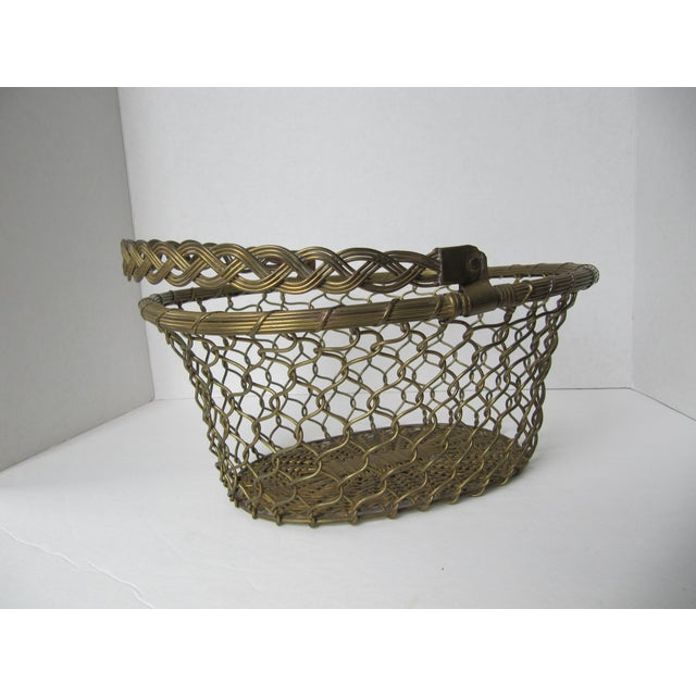Brass Woven Basket For Sale - Image 4 of 5