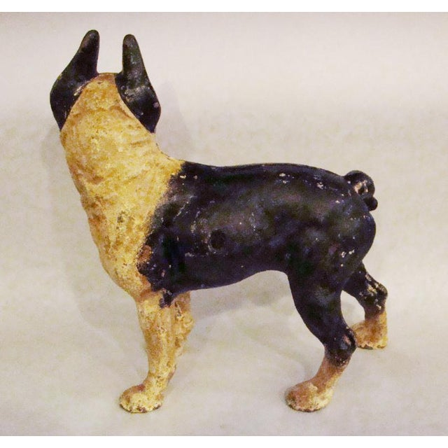 English Traditional Cast Iron Boston Terrier Door Stoper For Sale - Image 3 of 7