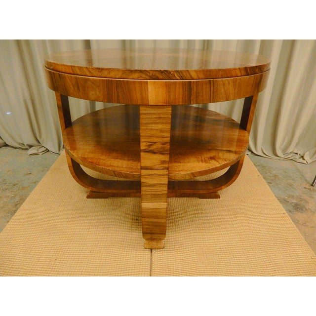 Contemporary Art Deco Walnut Round Side Table For Sale - Image 3 of 6