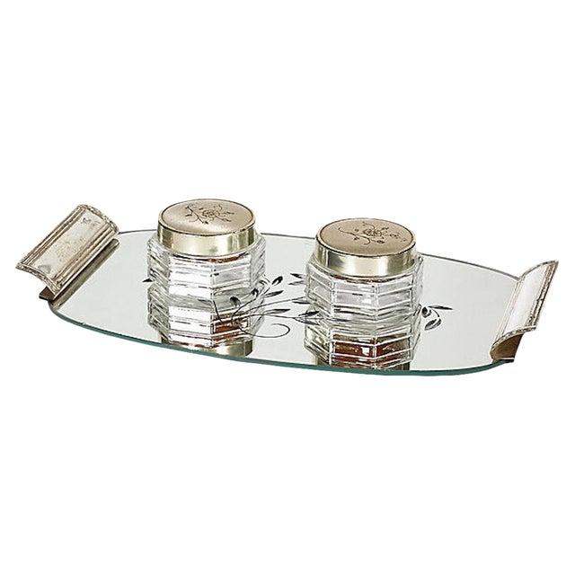 Art Deco Mirror Vanity Tray Jars Set Of 3