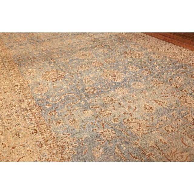 Large Antique Sky Blue Persian Kerman Carpet For Sale - Image 4 of 11
