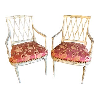 Pair of 19th-20th Century Armchairs in Scalamandre Upholstery Swedish Finish For Sale