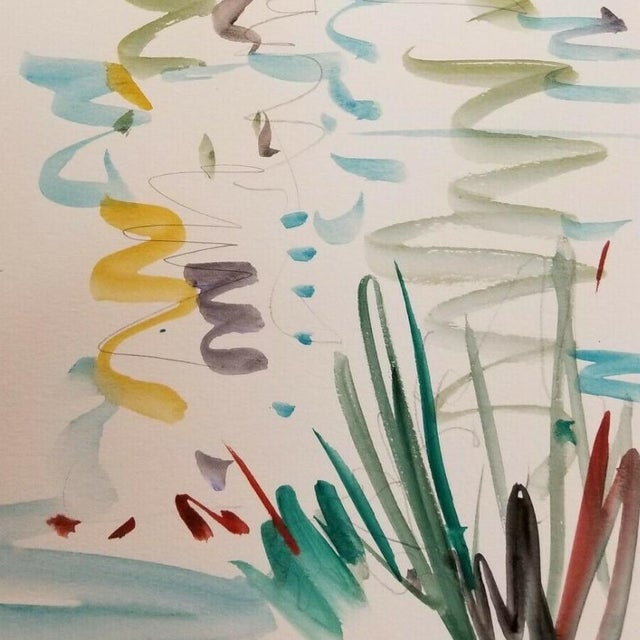 Jose Trujillo Original Watercolor Painting Fauvism Reflections Design For Sale - Image 4 of 4