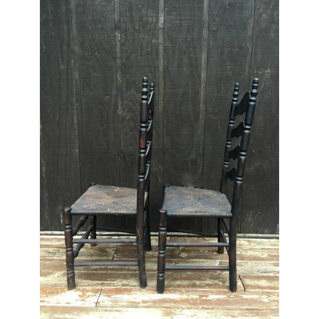 Wood French Farmhouse Ladderback Chairs - Set of 4 For Sale - Image 7 of 11
