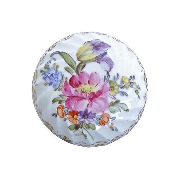 French Antique French Porcelain Floral Limoges Box For Sale - Image 3 of 4