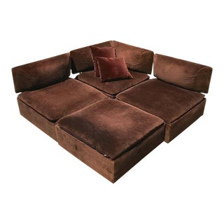 Vintage Mid-Century Modern Milo Baughman Style Brown Sectional With Ottoman For Sale