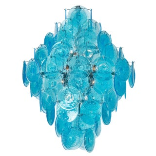 Murano Glass Turquoise Pendant Chandelier For Sale