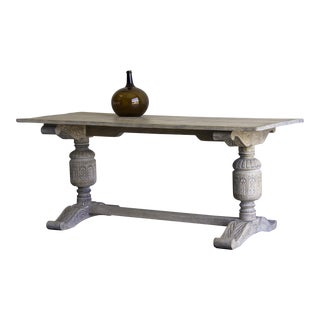 Jacobean Style Oak Table, Limed Finish, England c.1875