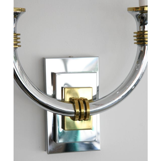 Art Deco Revival Polished Brass and Chrome Wall Sconces - a Pair For Sale - Image 4 of 11