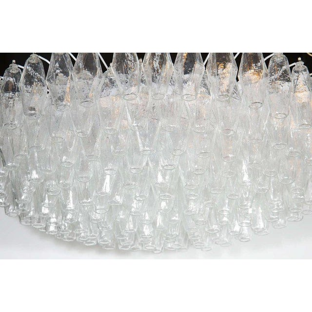 Mid-Century Modern Modernist Handblown Murano Translucent Glass and Chrome Polyhedral Chandelier For Sale - Image 3 of 8