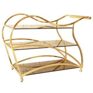 Milo Baughman for DIA Brass and Glass Bar Cart For Sale