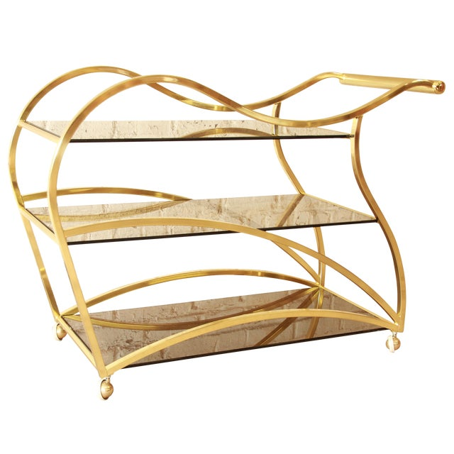 Milo Baughman for DIA Brass and Glass Bar Cart - Image 1 of 11