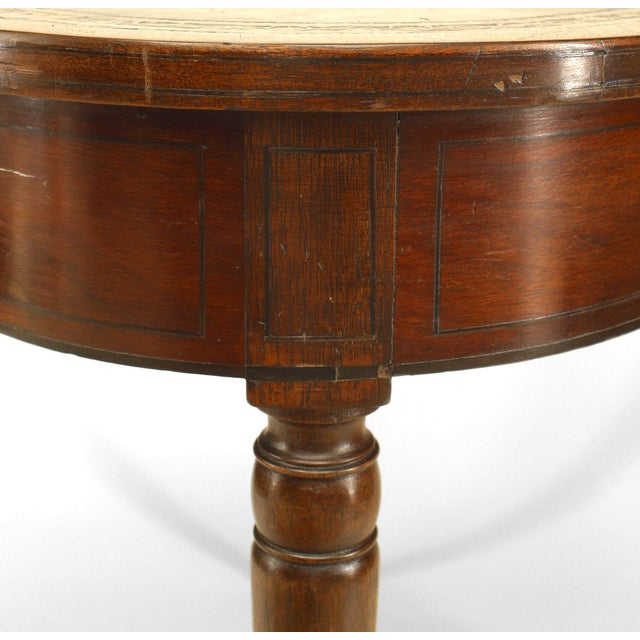 English Sheraton style (19th Cent) mahogany square shaped game table with ebonized trim and green leather top with gold...