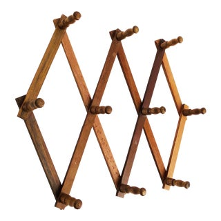 Vintage Wood Accordion Peg Rack For Sale