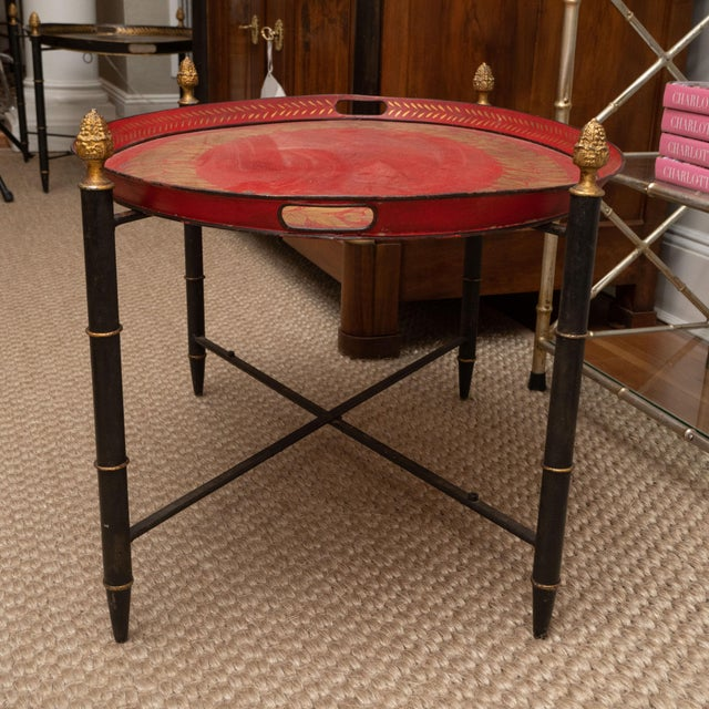 Metal Red Tole Table with Decorative Oval Top and X-Frame Base For Sale - Image 7 of 9