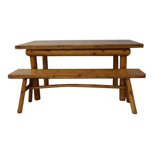 Knotty Pine Rustic Adirondack Ranch or Cottage Dining Table With Benches For Sale