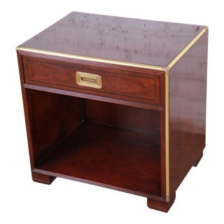 Baker Furniture Hollywood Regency Fruitwood and Brass Campaign Style Nightstand For Sale