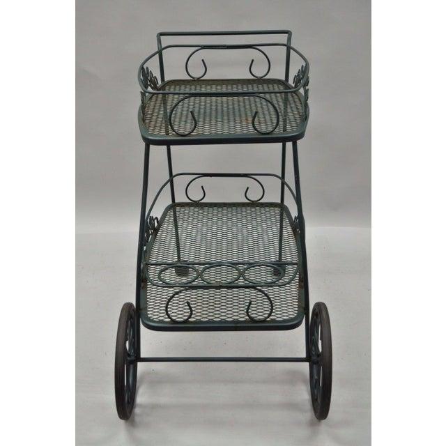Meadowcraft Dogwood Green Wrought Iron Tea Cart Rolling Bar Server Patio Garden For Sale - Image 4 of 11