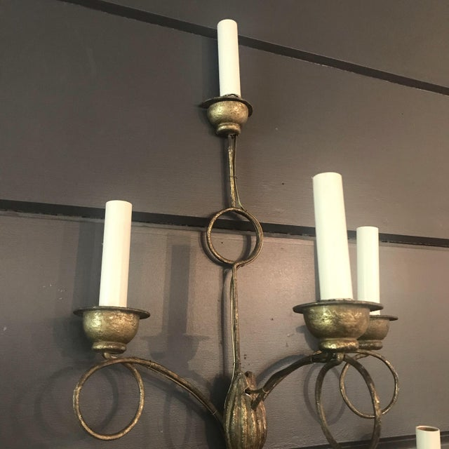 Mid 19th Century Rench Gold Seven-Light Wooden Water Gilt Sconces -A Pair For Sale - Image 5 of 7