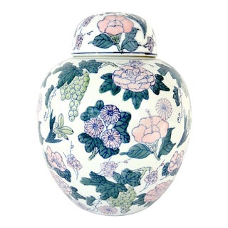 Vintage White Porcelain Chinese Blue and White Ginger Jar With Pink Flowers For Sale